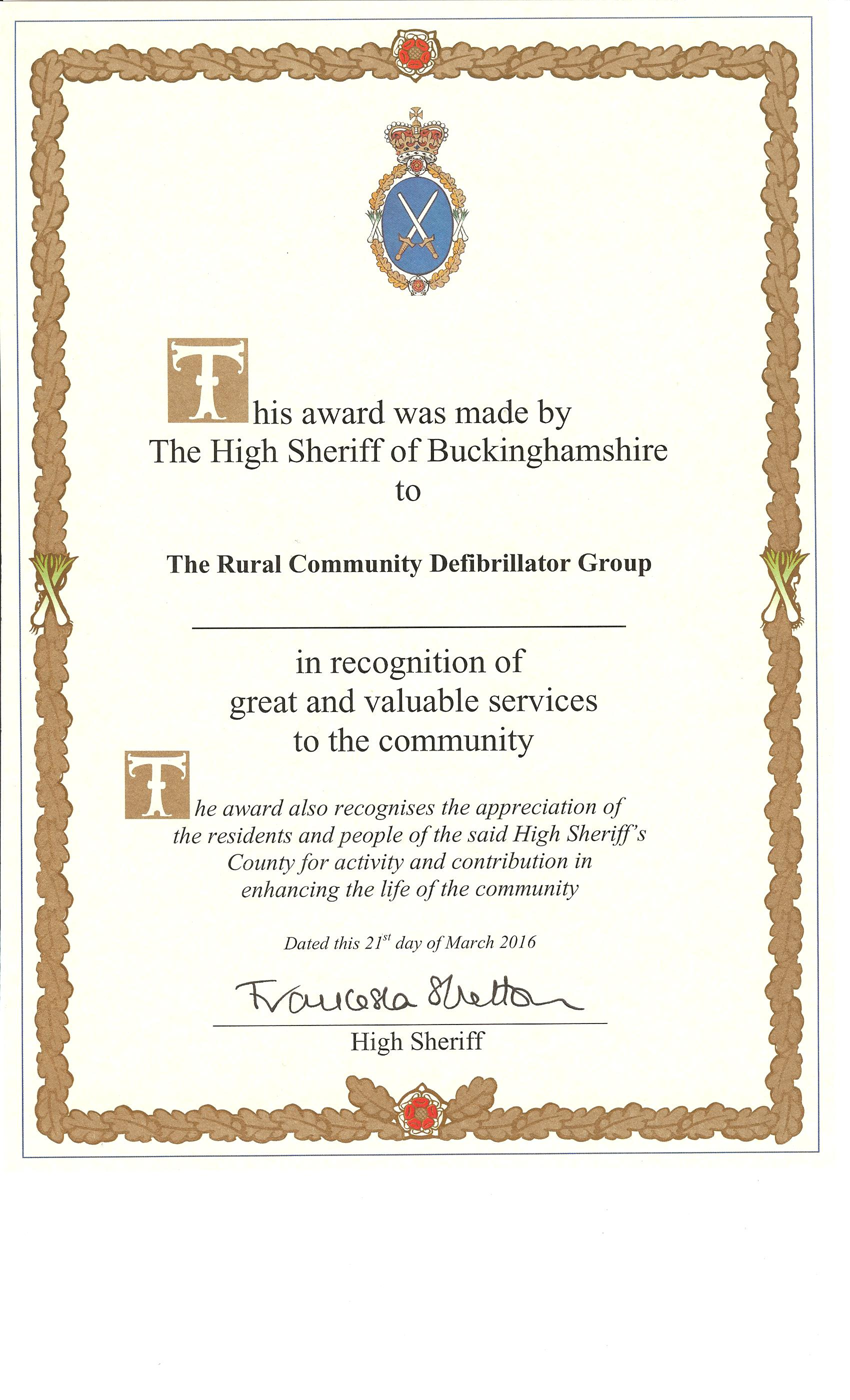 RCDG High Sheriff certificate
