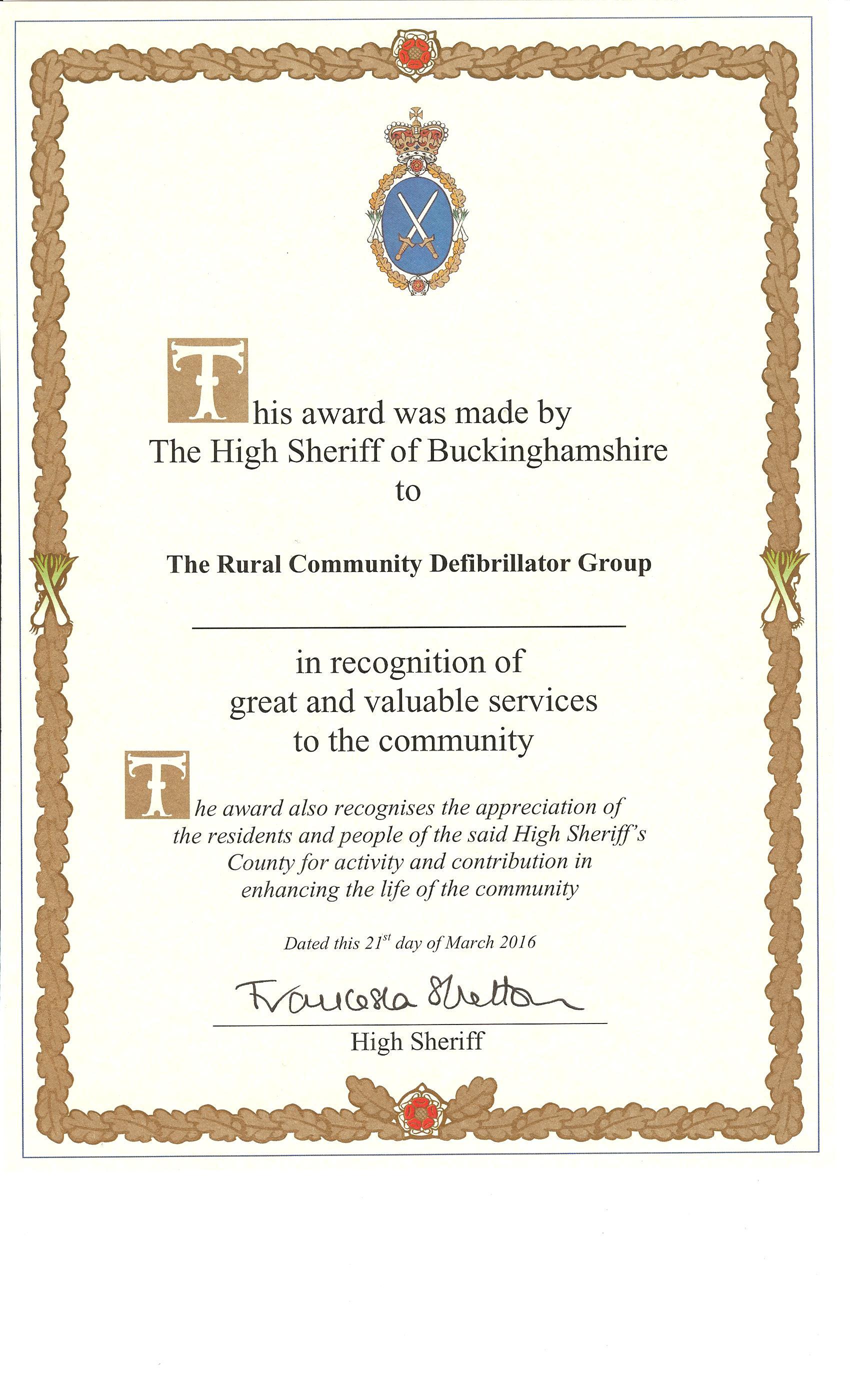 RCDG High Sheriff certificate